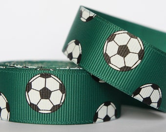 "10Yd Soccer 7/8"" Hunter Grosgrain Ribbon"