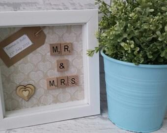 Scrabble Art - Mr & Mrs - Wedding - Anniversary - Scrabble Gift Frame - Scrabble Word Art - Personalised Frame - Keepsake