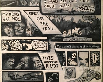 The Horse's Mouth --Oil Painted Graphic Memoir on Wood Panel in Black and White