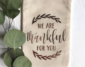 Set of 6 Rose Gold Foil We Are Thankful For You 4x6 Muslin Drawstring Favor Bags
