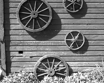 RUSTIC WAGON WHEELS--Barn Photography, Farm Photography, Old Barn, Wagon Wheels, Rustic, Farmhouse Decor, Country Decor, Picture of Barn