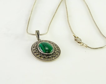 "Green Stone Marcasite Sterling Pendant on a 20"" Sterling Snake Chain"