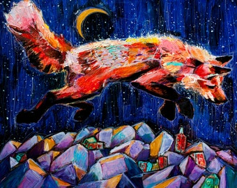 Fox in Flight. Limited Edition Giclee Print, 8x10, 11x14