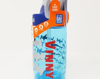 Personalized Kids CamelBak ® Water Bottle  Hammerhead- Bottle - Hydrate, Custom, Bite Valve, Toddler, Sharks, Sea, Whale, Reef, Tiger- .4L