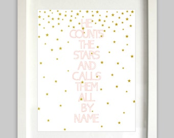 He Counts The Stars and Calls Them All By Name // Nursery Bible Verse // Coral Gold // Psalm 147:4 // Girl Scripture Art // Bible Verse