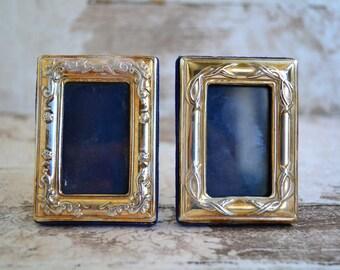 Silver photo frames.Set of 2 miniature frames.Ornated sterling mini photo frames.Frames with blue velvet.Home decor.Items from 80's.