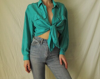 80s Emerald Green Silk Blouse S M L
