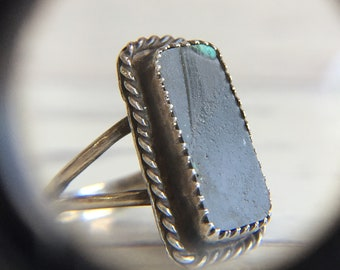 Vintage Sterling Silver Raw Stone Ring Signed  Gothic Boho