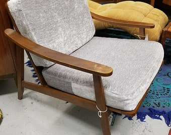 Mid-Century Modern Walnut Lounge Chair with new Grey Velvet Uphoustery.
