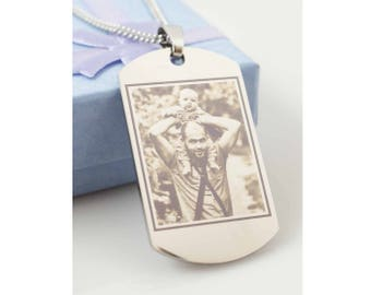Dogtag necklace // Stainless Dogtag // Photo Engraved Dogtag Necklace // Engraving of Any Image //