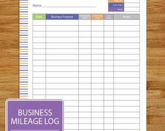 Mileage Log - Business Mileage Tracker - Auto Mileage Tracker -  Coordinates with Business Planning Set - Purple Blue Orange