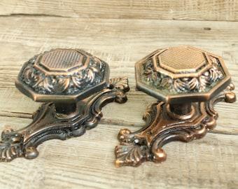 Charming Set Of 2 Vintage Metal Door Handles. Door Knobs. In A Bronze Tone