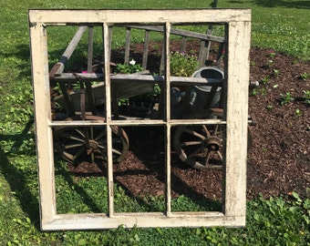HUGE antique six pane window, LARGE vintage wooden six pane window with out glass, OVERSIZED reclaimed wood windows, architectural salvage