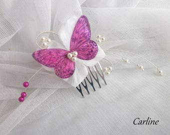 Mini comb hairdressing wedding Fuchsia and ivory flowers silk tie - Leila-clear