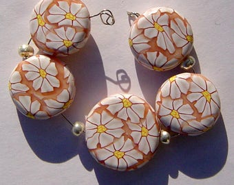 Daisy Crazy Spring Floral  Artisan Polymer Clay Bead Set with Focal and 4 Beads
