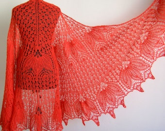 knitted shawl red shawl Mohair Shawl hand knit shawl gift for mom lace shawl Lace Wedding Knitting Shawl knit shawl Hand womens gift