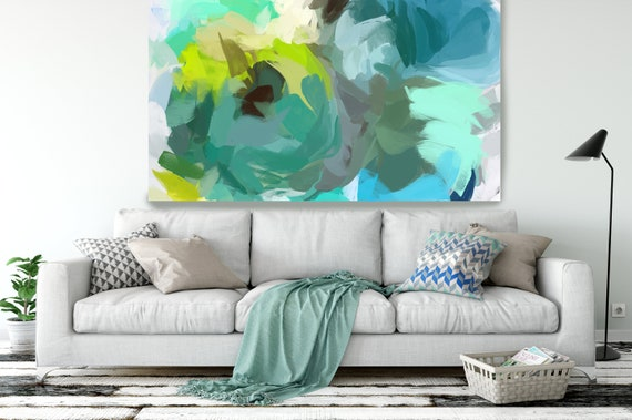 "The Shades of Green Abstract 2, Modern Green Canvas Art Print Painting Green Abstract White Green Decor up to 80"" by Irena Orlov"