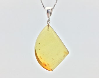 Green Baltic Amber Pendant // 925 Sterling Silver // Cut Polished in the Baltics // Natural Green Color