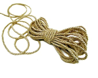 3mm Champagne Satin Twisted Cord, Wrapped Thread Cord, Polyester Braided Cord, Rope Cord - 3 Yards/ 2.75m approx.(1 piece)