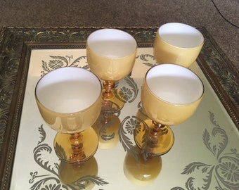 Carlo Moretti Murano Italy Cased Glass Wine Goblets Set of Four