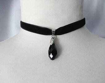 Glass Charm Pendant , black  Velvet Ribbon Choker Necklace