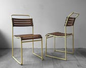 Industrial Stacking Chair Yellow 1950s Mid Century Tubular French Seat