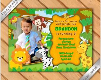 50% OFF SALE - Jungle Birthday Photo Invitation printable - Safari Invitation Zoo, Invitation Boy Birthday Invite - Safari Birthday #8