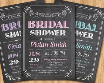 Chalkboard Bridal Shower Invitation. Wedding Shower. Pink, Purple, Blue. Black and White typography. Rustic. Printable Digital DIY.