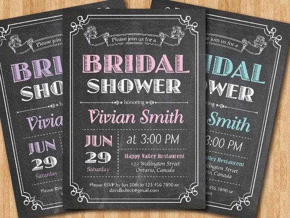 Chalkboard Bridal Shower Invitation Wedding Shower Pink
