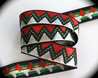 "Christmas Ribbon - 1""  Red, Green, Gold and Silver - Zig Zag Ribbon - DARLING - Very Whimsical"