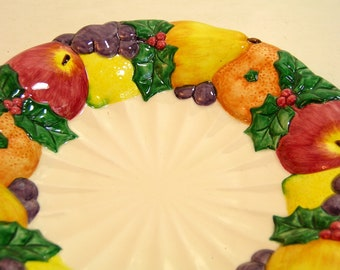 Vintage Fitz And Floyd Omnibus Dellarobia Fruit Wreath Salad Plate