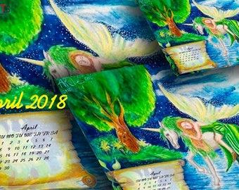 Wall calendar magic Printable Calendar month 2018 Calendar digital  Watercolor calendar april 2018 Calendar printable Poster 2018 Calendar