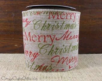 """Christmas Wired Ribbon, 4"""" Merry Christmas Print Light Brown Heather - Ten Yard Roll - d. stevens  Wire Edged Ribbon"""