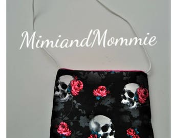 Girly Skull purse,girly crossbody purse, lightweight purse