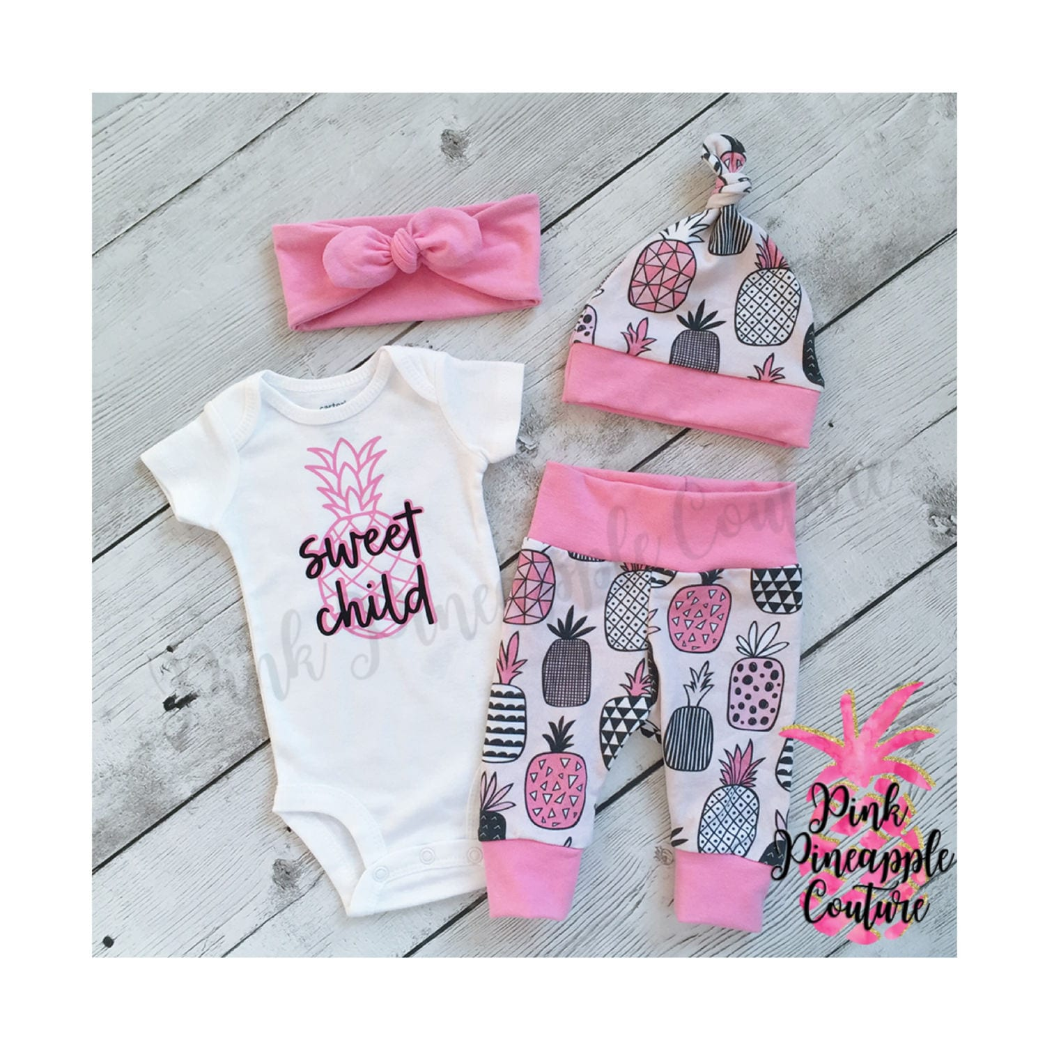 Pineapple baby outfit Newborn girls going home outfit