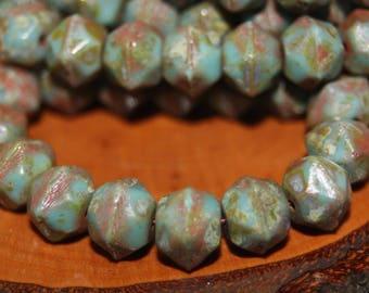 Czech Glass Beads, English Cut, 10mm, 15 Beads