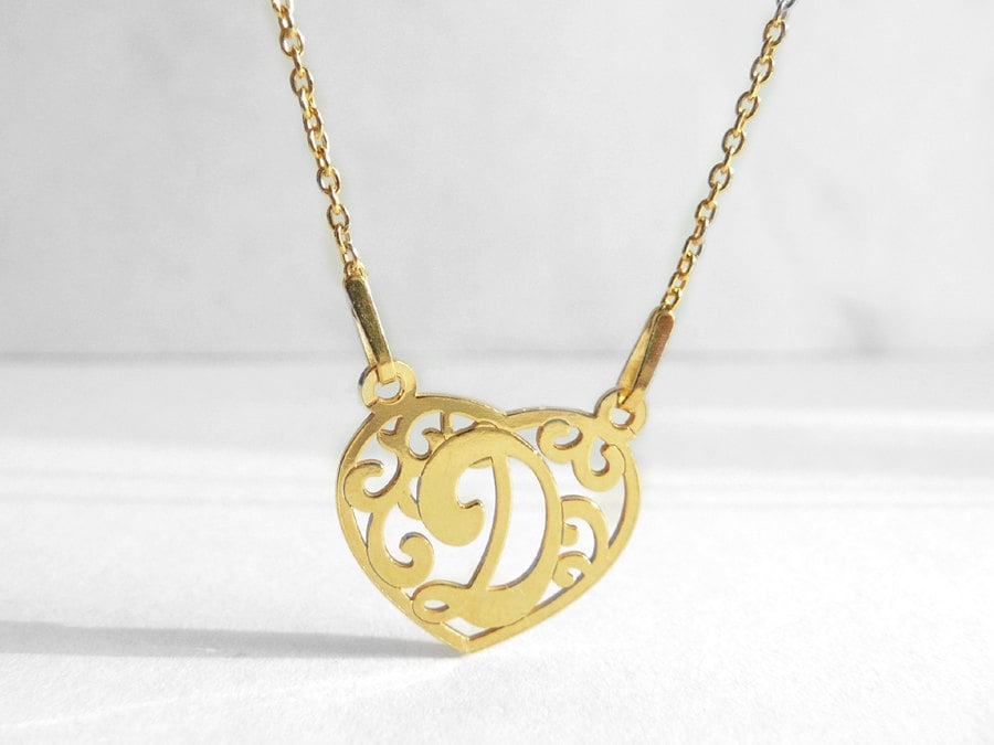 Stylish Gold Plated D Initial Charm D Letter Necklace Heart