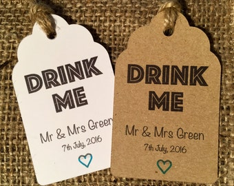 Rustic Personalised 'Drink Me' Wedding Favour Thank You Tags