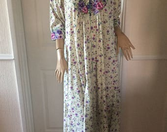 Authentic Vintage Gypsy/Boho/Festival Cotton Floral  Maxi Dress/Robe sz 14/16 *  Homemade and Unique