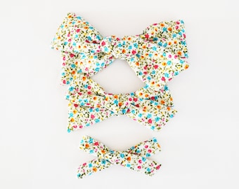 Ditsy Floral Hand-tied Simple Fabric Bow Nylon Elastic or Alligator Clip