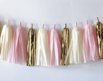 Tissue Tassel Garland  //  Pink  //  Blush  //  Ivory  //  Gold  //  Baby Shower  //  Bridal Shower  //  Nursery Decoration