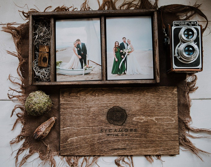 custom - Double 5x7x2.5 - Wood print box for 5x7 photos and usb drive - (spanish moss included)