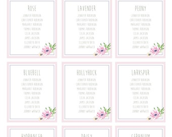 Wedding Table Plan / Seating Chart - Pretty Pastels Floral Style