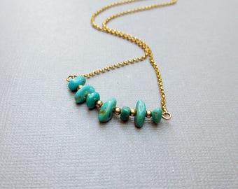 Turquoise Bead Necklace, Bead Bar Necklace, Gold Fill Jewelry, Modern, Genuine Kingman Turquoise, Boho, Southwest, Gift for Her, Under 50