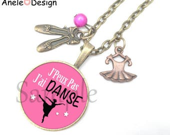 Necklace ballerina - pink Black White Pearl Pink