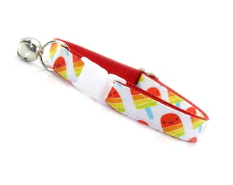 "Summer Cat Collar - ""Rainbow Popsicles"" - Red Popsicle Cat Collar Breakaway / Ice Cream / Fun / Tropical / Cat, Kitten & Small Dog Sizes"