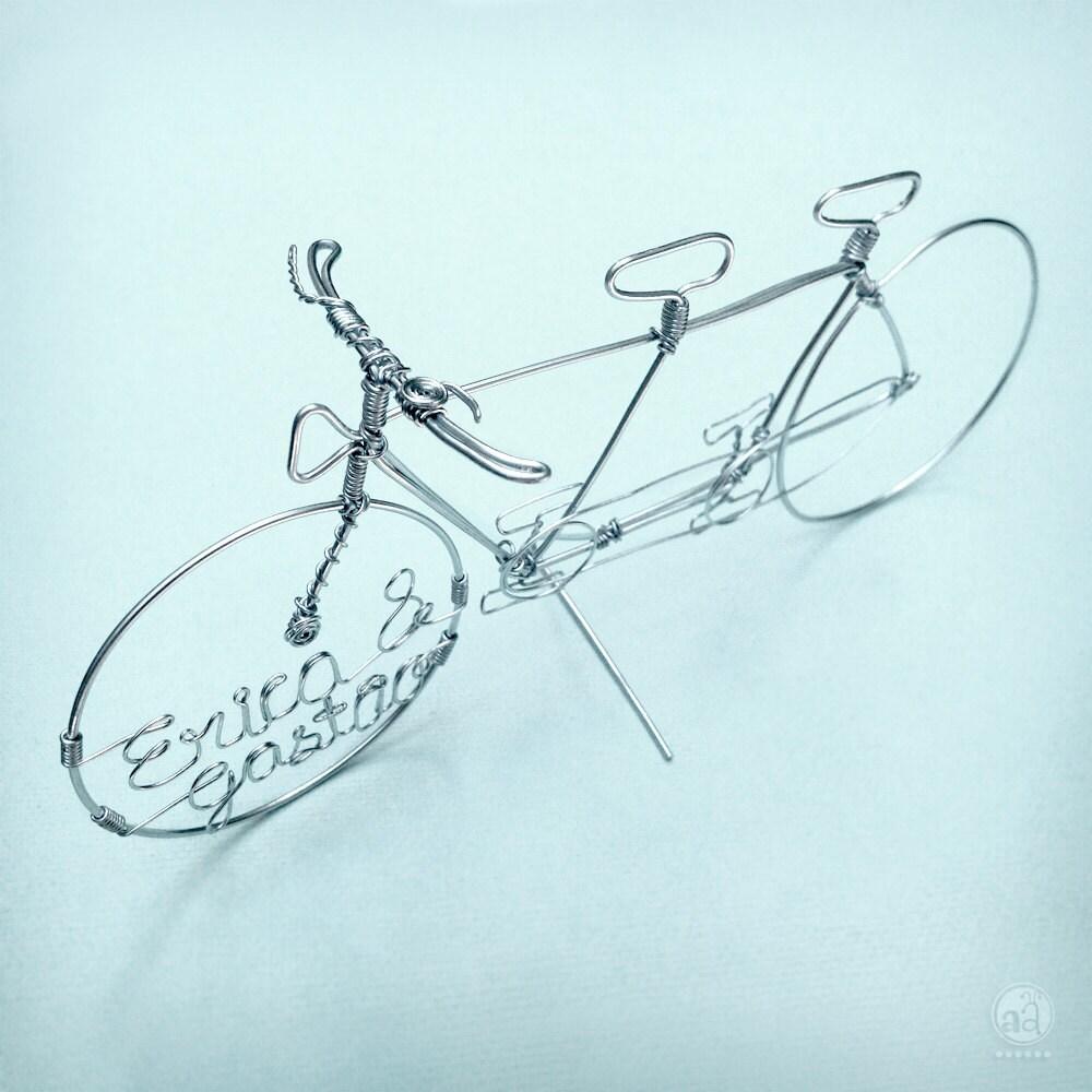 TANDEM-Fahrrad Draht-Kunst Hochzeitstorte Topper Hand