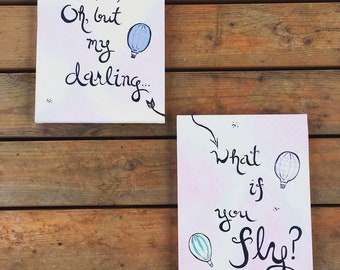 What If You Fly? - Original Acrylic Paintings - 11x14 - Set - Nursery Art - Balloon Art - Hot Air Balloon - Literature
