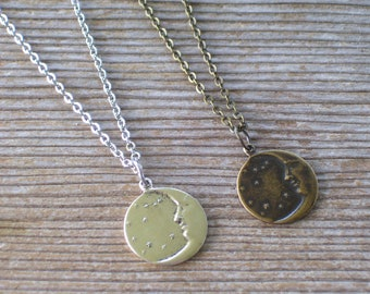 Celestial Necklace, Brass Moon Stars Necklace, Silver Moon Stars, Moon Stars Pendant, Brass Moon Pendant, Silver Celestial Pendant