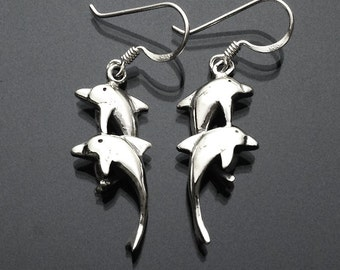925 Solid Sterling Silver DOBLE DOLPHIN  Earrings- Small- Oxidized- Dangle